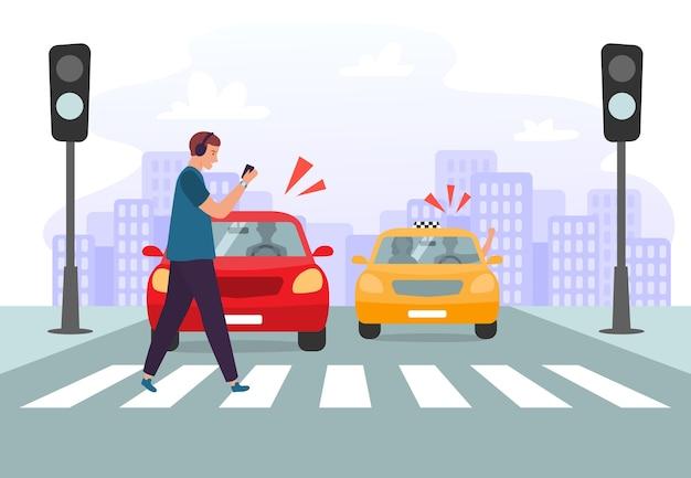 Accidente de cruce de peatones. peatón con smartphone y auriculares cruzando la carretera en semáforos rojos