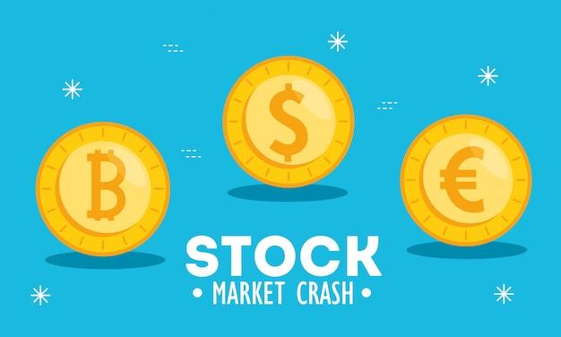 Accidente del mercado de valores con ilustración de monedas de dinero