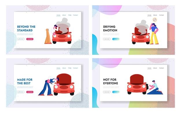 Accidente de tráfico con coche roto y página de inicio del sitio web del servicio de reparación mecánica,