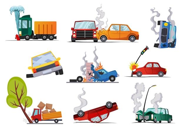 Accidentes en coches de carretera dañados, diseño de ilustraciones