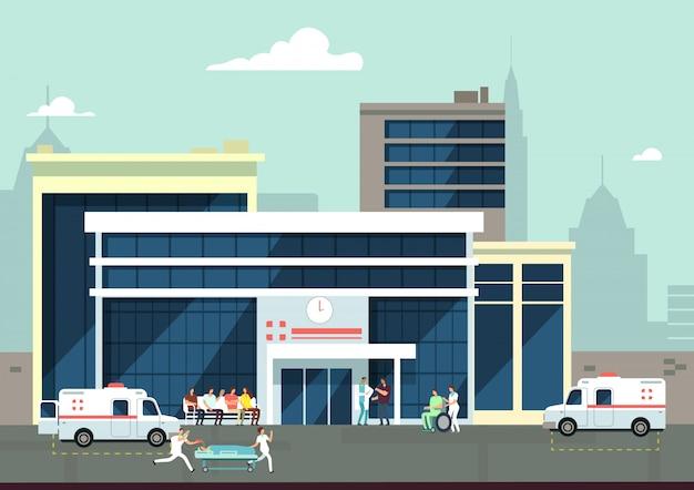 Accidentes y urgencias en el exterior del hospital con médicos y pacientes. concepto de vector medico