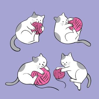 Acción adorable de dibujos animados gato adorable jugando hilado