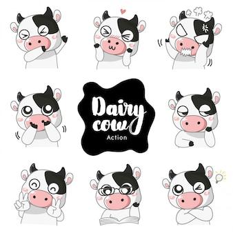 Acción y emociones de la vaca lechera,