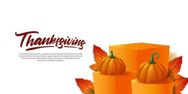 Acción de gracias 3d realista calabaza vegetal y hojas de arce en el escenario del podio exhibición de productos otoño otoño plantilla de banner de cartel de tarjeta de felicitación