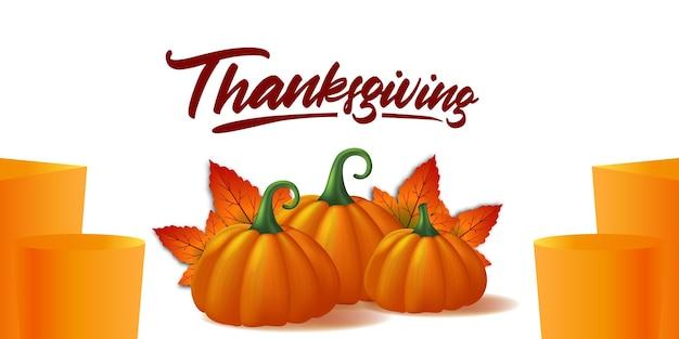 Acción de gracias 3d realista calabaza vegetal y hojas de arce otoño otoño plantilla de banner de cartel de tarjeta de felicitación