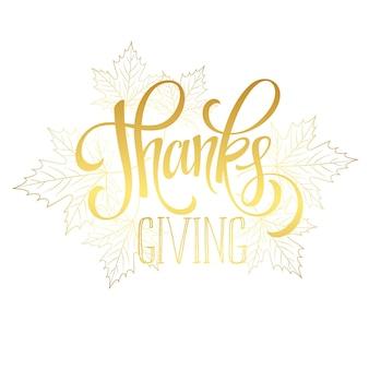 Acción de gracias - diseño de letras brillantes de oro. ilustración vectorial eps 10