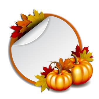 Acción de gracias, pegatinas promocionales redondas en blanco con fondo rojo. con calabazas naranjas y hojas de arce otoñales. ilustración vectorial
