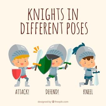 Acciones de simpáticos caballeros de armadura
