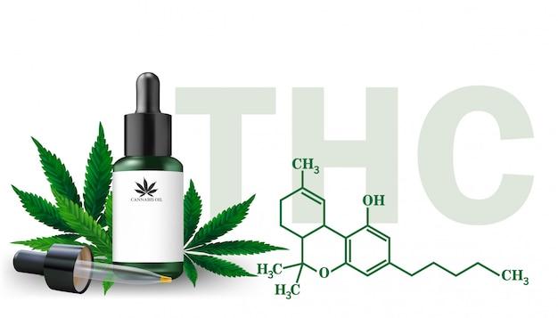 Aceite de cáñamo y hojas de cannabis aisladas. aceite de cannabis saludable, ilustración vectorial.