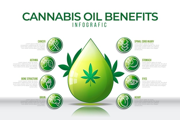 El aceite de cannabis y sus beneficios en una infografía