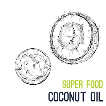 Aceite de coco. súper comida dibujada a mano