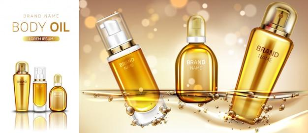 Aceite corporal cosméticos productos botellas maqueta banner.