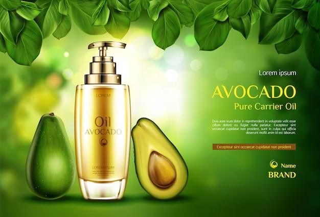 Aceite cosmético de aguacate. botella de producto orgánico con bomba en verde borrosa con hojas de árboles.