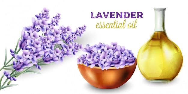 Aceite esencial de lavanda con flores