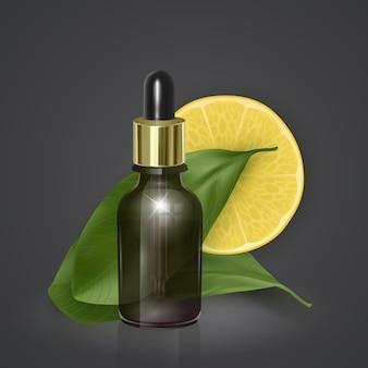 Aceite esencial con limón, vitamina c, ilustración 3d realista. suero de hidratación con extracto de limón.