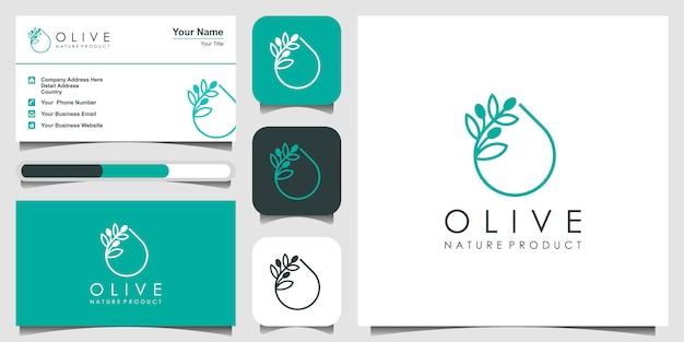 Aceite de oliva creativo con concepto de diseño de logotipo de arte lineal. diseño de logotipo, icono y tarjeta de visita