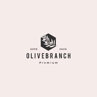 Aceite de oliva rama de árbol logo hipster vintage retro