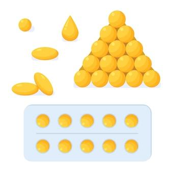 Aceite de pescado, cápsulas blandas, cápsulas, comprimidos, blister, gota de ácidos grasos dorados, farmacia, medicina