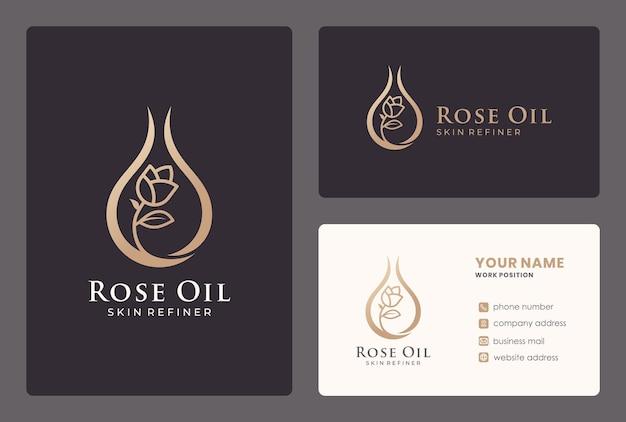 Aceite de rosa elegante, cosméticos, cuidados de belleza, flores, gotas, logotipo de cuidado de la piel con tarjeta de visita.