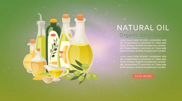 Aceites orgánicos naturales con aceite de oliva virgen extra y botellas de vegetales de maíz con aceitunas plantilla de banner