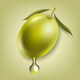 Aceitunas con hoja de fondo verde aislado