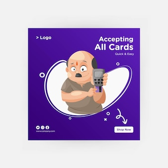 Aceptando todas las tarjetas diseño de banner para redes sociales