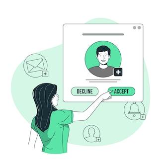 Aceptar la ilustración del concepto de solicitud