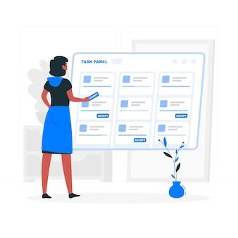 Aceptar la ilustración del concepto de tareas