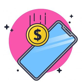 Aceptar pago con ilustración de teléfono móvil