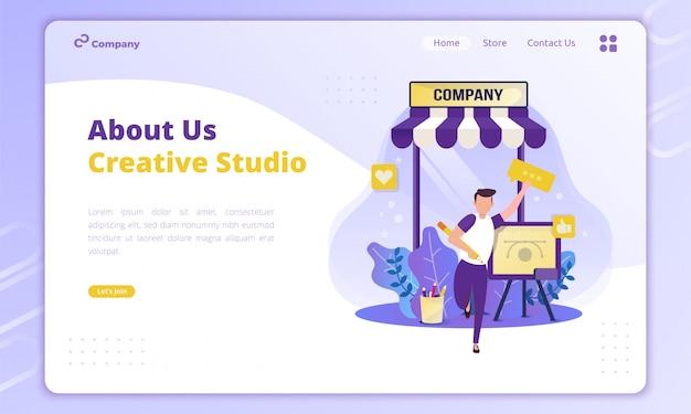Acerca de la ilustración del perfil de la empresa para el concepto creativo del negocio en la página de destino