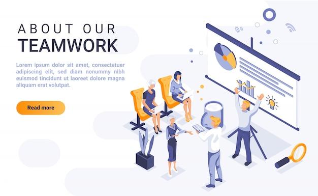 Acerca de nuestro banner de página de aterrizaje de trabajo en equipo con ilustración isométrica