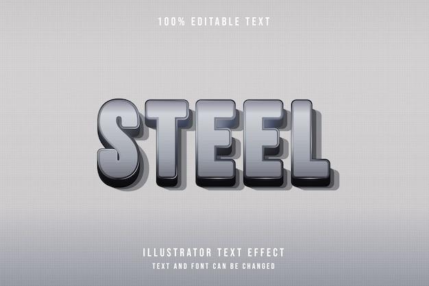 Acero, efecto de texto editable 3d patrón de gradación gris estilo moderno