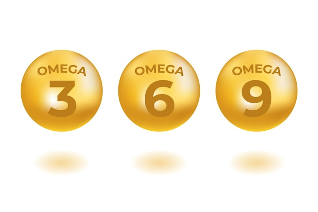 Ácidos omega gotas oro iconos