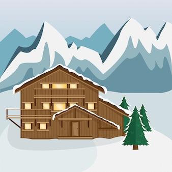 Acogedor chalet de madera en las montañas. paisaje de montaña estilo plano estación de esquí.