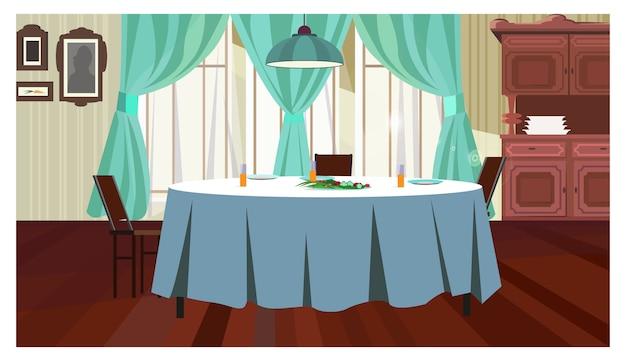 Acogedor comedor con ilustración de mesa.