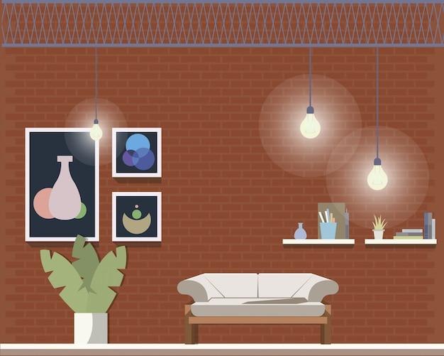 Acogedor y confortable diseño interior de la sala de coworking