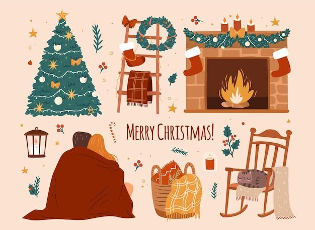 Acogedor conjunto de navidad colección de elementos de ambiente de vacaciones en casa sobre fondo blanco