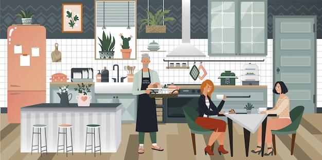 Acogedor diseño interior de la cocina con estufa, armario y platos, hombre que sirve el desayuno a dos mujeres ilustración de estilo hyggie.