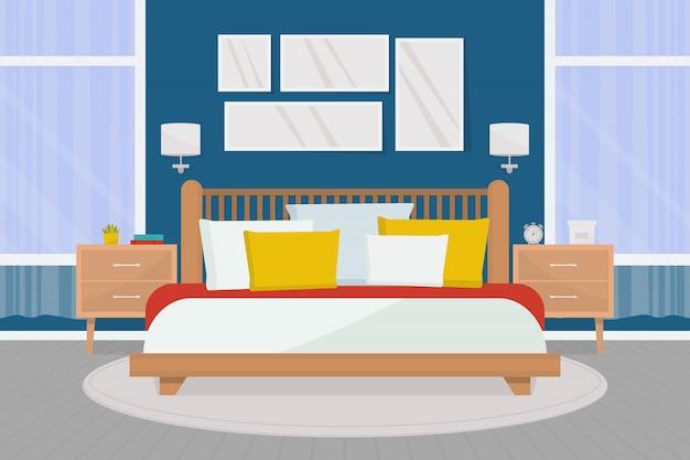Acogedor dormitorio interior con muebles. cama doble, mesitas de noche, grandes ventanales.