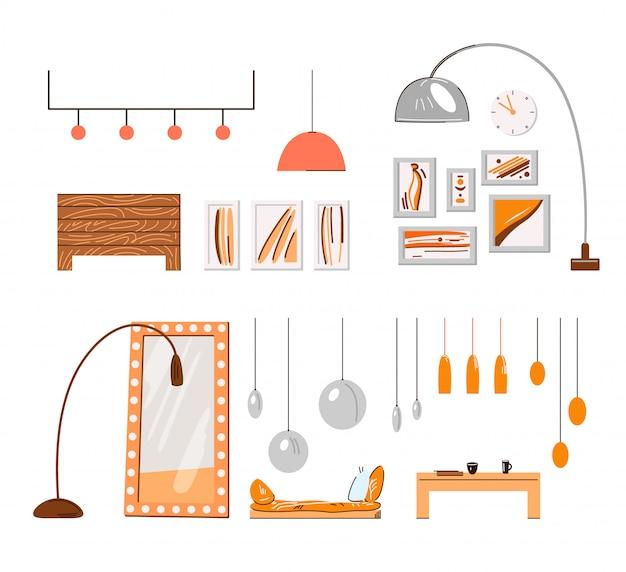 Acogedor hogar interior minimalista accesorios y detalles - lámparas, marcos, luces, espejos y mesas de café aisladas en blanco. conjunto de muebles interiores de interior, hogar acogedor en paleta naranja.