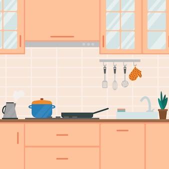 Acogedor interior de cocina en tonos melocotón ilustración vectorial plana