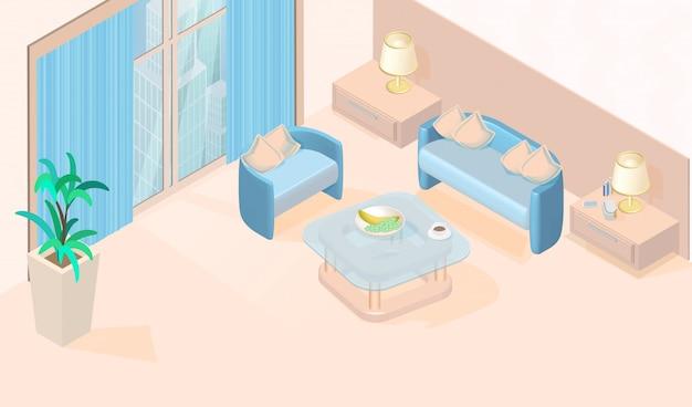 Acogedor y minimalista salón moderno vector isométrico