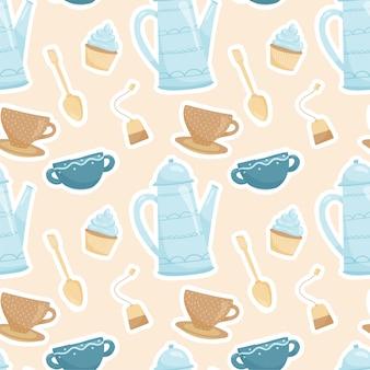 Acogedor patrón de ceremonia del té en colores cálidos