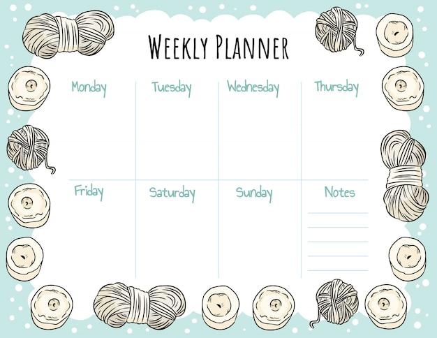 Acogedor planificador semanal boho y para hacer la lista con velas y adornos de hilo. linda plantilla para agenda, planificadores, listas de verificación. maqueta estacionaria