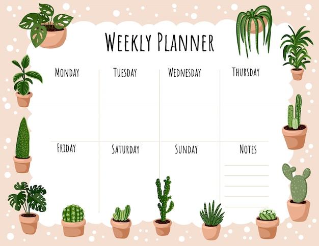 Acogedor planificador semanal boho y lista de tareas con ornamento de plantas suculentas en maceta higge. linda plantilla de lagom para agenda, planificadores