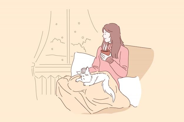 Acogedor, relajarse, concepto de sueño