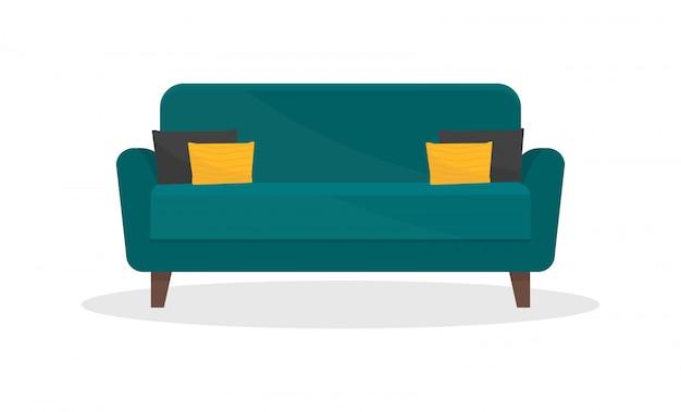 Acogedor sofá con almohadas negras y amarillas. sofá cómodo. mobiliario para salón.