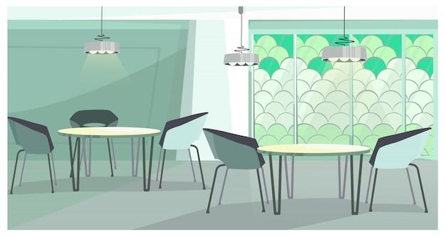 Acogedora cafetería con ilustración de diseño moderno.