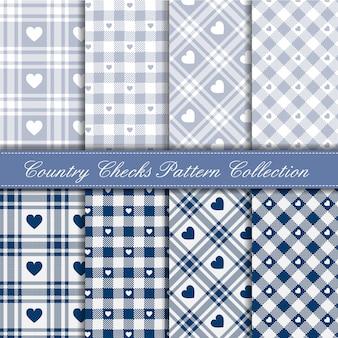 Acogedora colección de patrones de corazón de guinga country azul y hielo