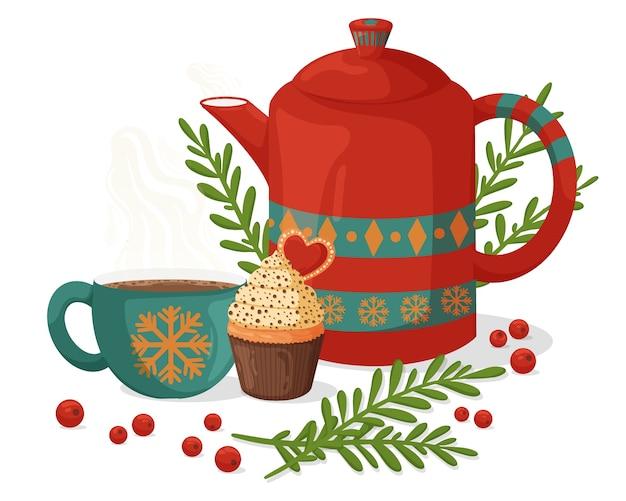 Acogedora composición navideña con cafetera